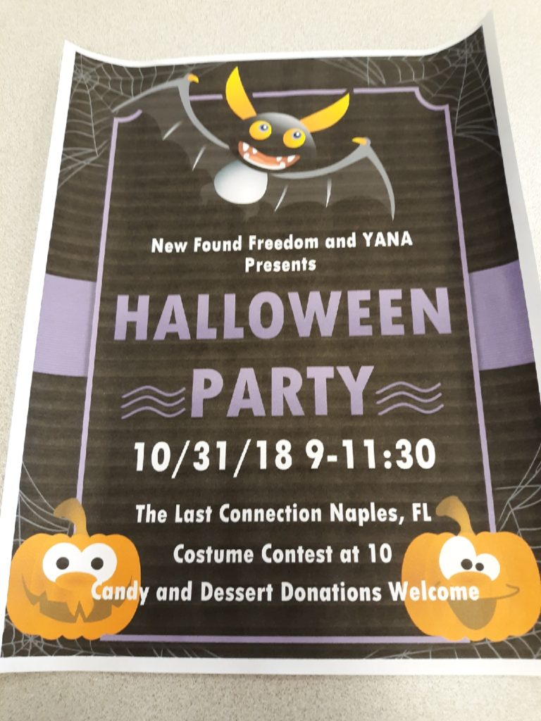 Halloween Costume Party & Speaker Hosted by New Found Freedom and YANA @ The Last Connection Rm #16 | Naples | Florida | United States
