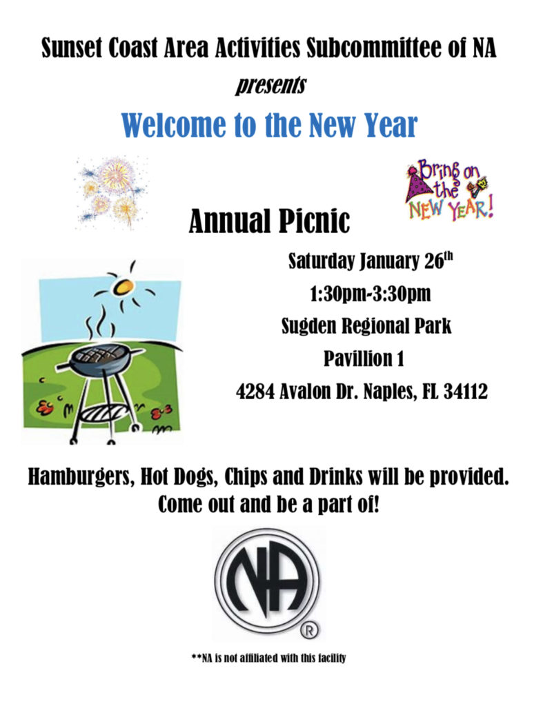 Sunset Coast Area Activities  Subcommittee of NA presents Welcome to The New Year Annual Picnic @ Sugden Regional Park Pavilion 1 | Naples | Florida | United States