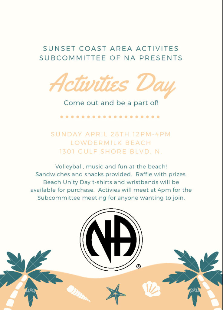 Sunset Coast Area Activities Subcommittee of NA Presents Activities Day @ Lowdermilk Beach | Naples | Florida | United States